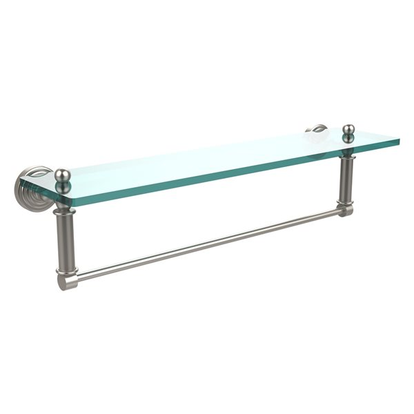 Allied Brass Waverly Place Satin Nickel 22-in Glass Vanity Bathroom Shelf with Integrated Towel Bar