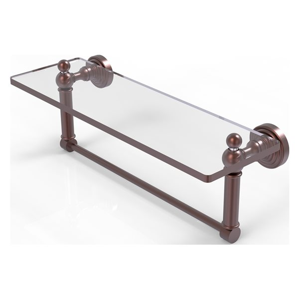 Allied Brass Waverly Place Antique Copper 16-in Glass Vanity Bathroom Shelf with Integrated Towel Bar
