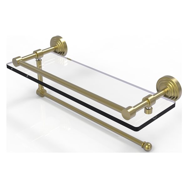Allied Brass Waverly Place Satin Brass 16-in Gallery Glass Shelf with Paper Towel Holder
