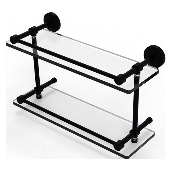 Allied Brass Waverly Place Matte Black 16-in Double Glass Bathroom Shelf with Gallery Rail