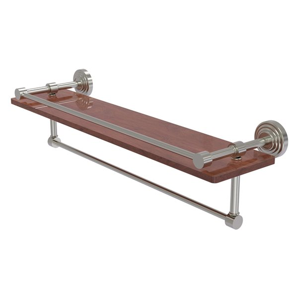 Allied Brass Waverly Place Satin Nickel 22-in IPE Ironwood Bathroom Shelf with Gallery Rail and Towel Bar