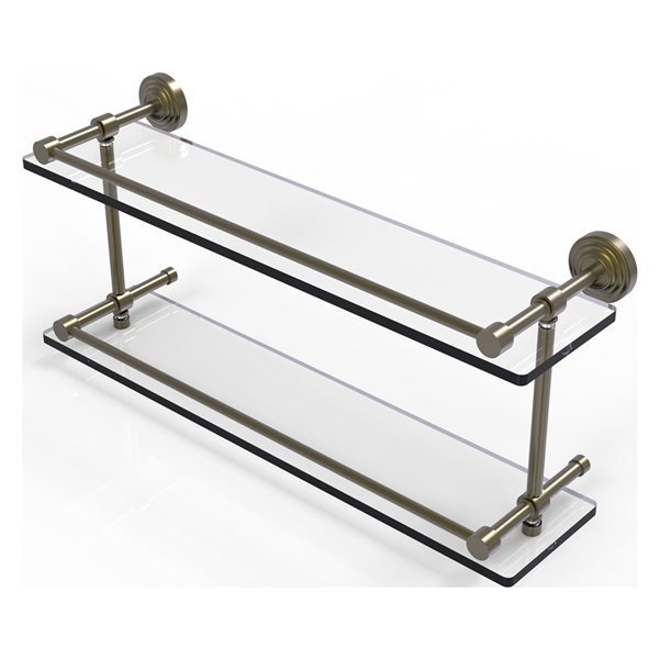 Allied Brass Waverly Place Antique Brass 22-in Double Glass Bathroom Shelf with Gallery Rail