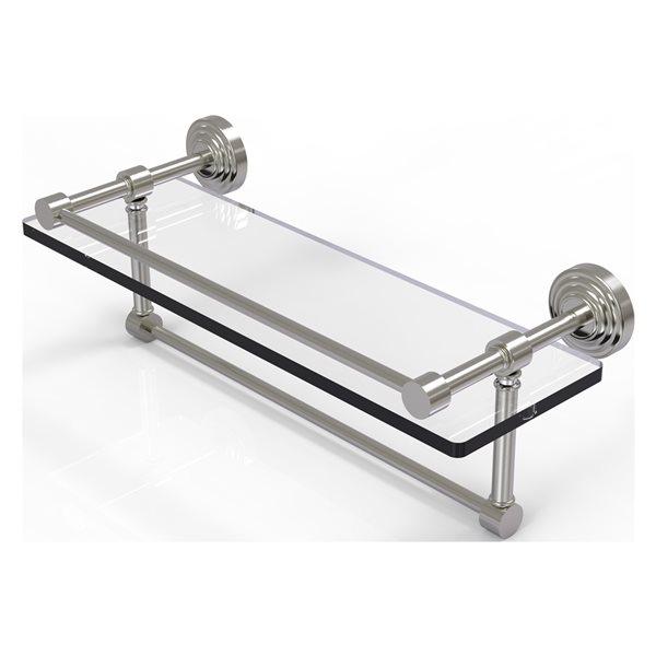 Allied Brass Waverly Place Satin Nickel 16-in Gallery Glass Bathroom Shelf with Towel Bar
