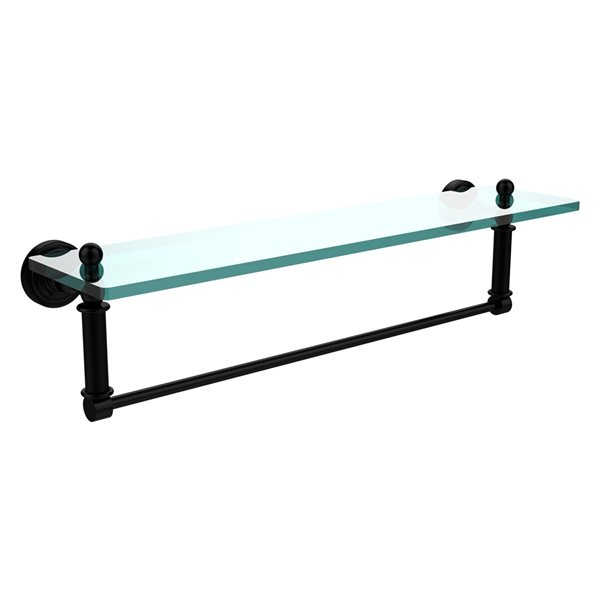 Allied Brass Waverly Place Matte Black 22-in Glass Vanity Bathroom Shelf with Integrated Towel Bar