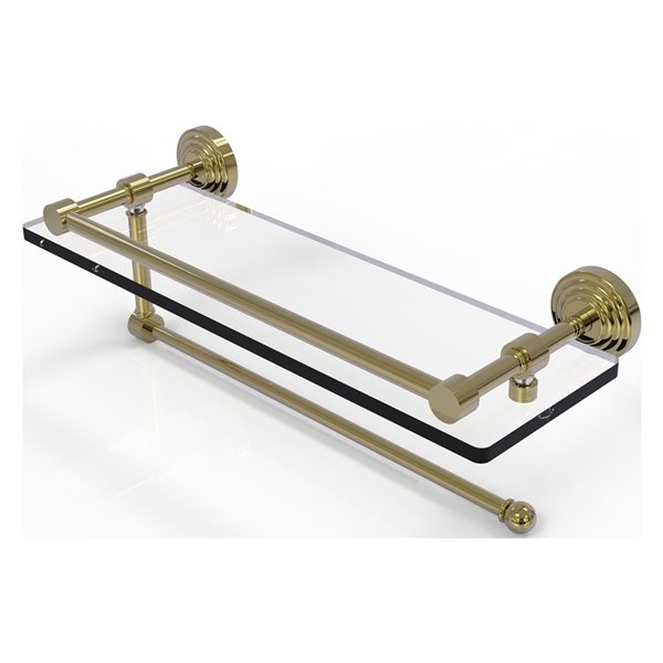 Allied Brass Waverly Place Unlacquered Brass 16-in Gallery Glass Shelf with Paper Towel Holder