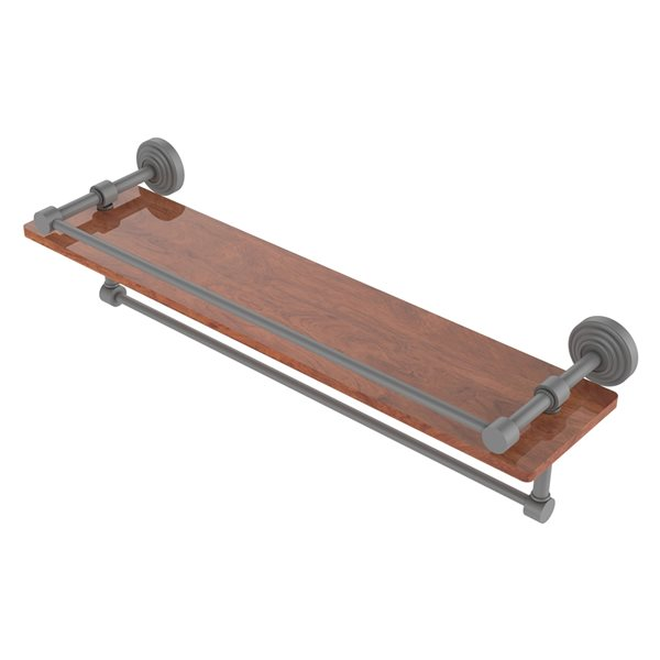 Allied Brass Waverly Place Matte Gray 22-in IPE Ironwood Bathroom Shelf with Gallery Rail and Towel Bar