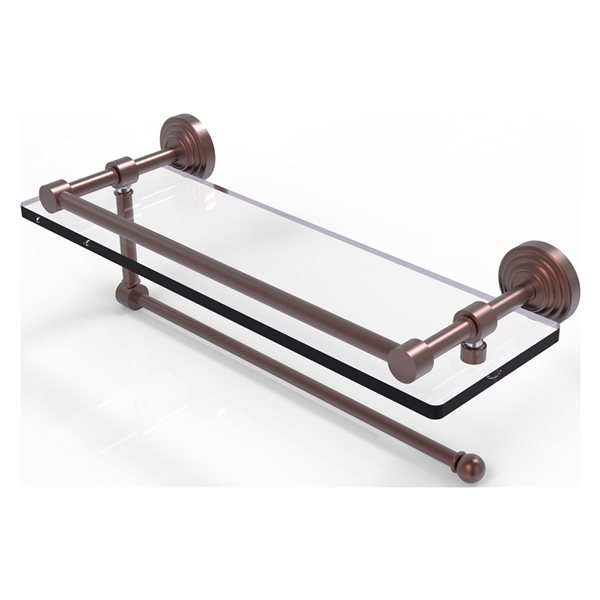 Allied Brass Waverly Place Antique Copper 16-in Gallery Glass Shelf with Paper Towel Holder