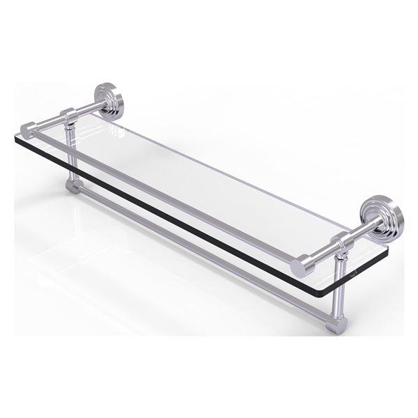 Allied Brass Waverly Place Satin Chrome 22-in Gallery Glass Bathroom Shelf with Towel Bar