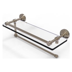 Allied Brass Waverly Place Antique Pewter 16-in Gallery Glass Shelf with Paper Towel Holder