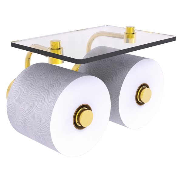 Allied Brass Waverly Place Polished Brass Wall Mount Double Post Toilet Paper Holder
