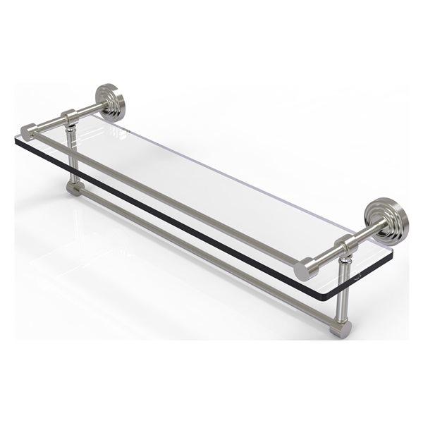 Allied Brass Waverly Place Satin Nickel 22-in Gallery Glass Bathroom Shelf with Towel Bar