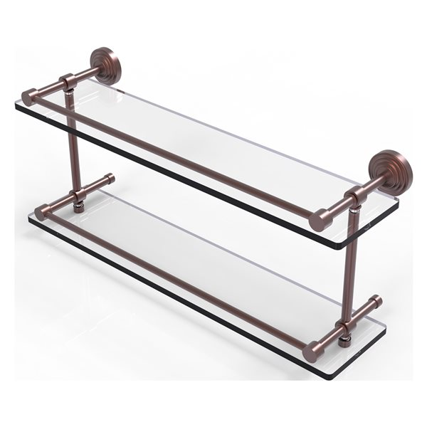 Allied Brass Waverly Place Antique Copper 22-in Double Glass Bathroom Shelf with Gallery Rail