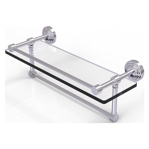 Allied Brass Waverly Place Satin Chrome 16-in Gallery Glass Bathroom Shelf with Towel Bar