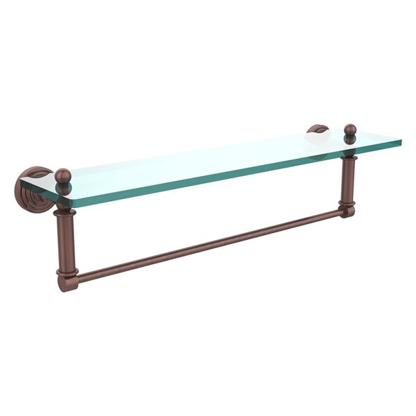 Allied Brass Waverly Place Antique Copper 22-in Glass Vanity Bathroom Shelf with Integrated Towel Bar