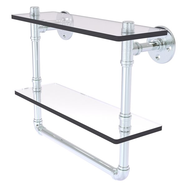 Allied Brass Pipeline 16-in Polished Chrome and Glass 2-Tier Wall Mount Bathroom Shelf