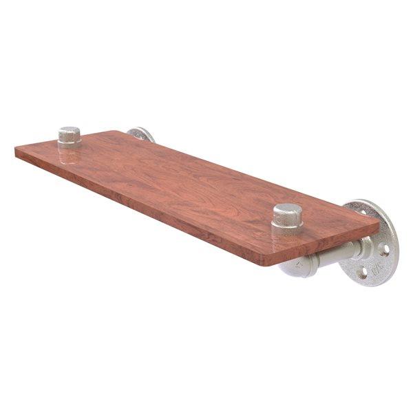 Allied Brass Pipeline 16-in Satin Nickel 1-Tier Wood Wall Mount Bathroom Shelf