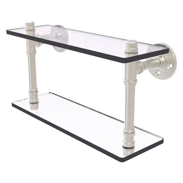 Allied Brass Pipeline 16-in Satin Nickel 2-Tier Glass Wall Mount Bathroom Shelf
