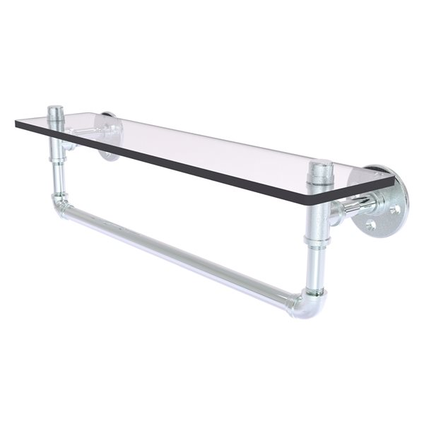 Allied Brass Pipeline 22-in Polished Chrome and Glass 1-Tier Wall Mount Bathroom Shelf