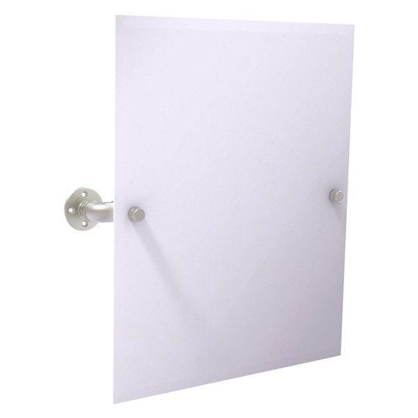 Allied Brass Pipeline 24.5-in Satin Nickel Rectangular Frameless Bathroom Mirror