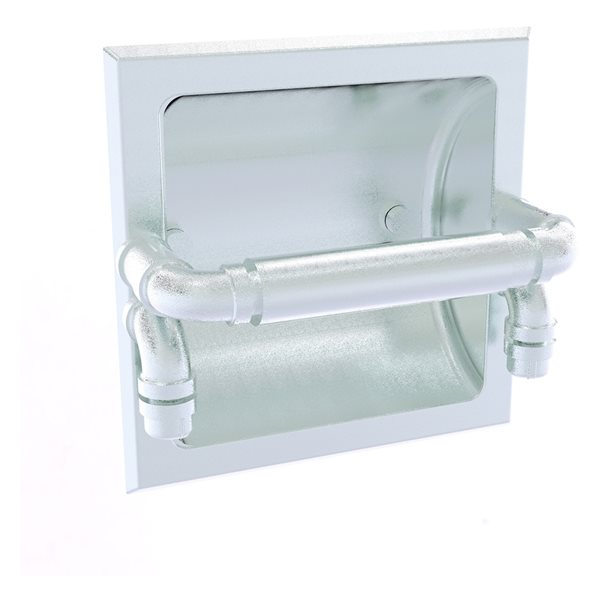 Allied Brass Pipeline Polished Chrome Recessed Double Post Toilet Paper Holder