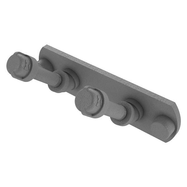 Allied Brass Pipeline 2-Hook Matte Grey Towel Hook