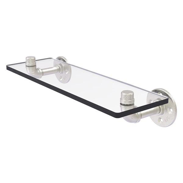 Allied Brass Pipeline 16-in Satin Nickel 1-Tier Glass Wall Mount Bathroom Shelf