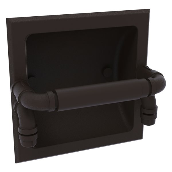 Allied Brass Pipeline Oil Rubbed Bronze Recessed Double Post Toilet Paper Holder