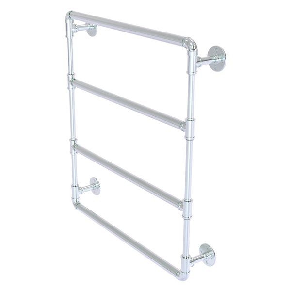Allied Brass Pipeline 24-in 4-Bar Polished Chrome Wall Mount Towel Rack