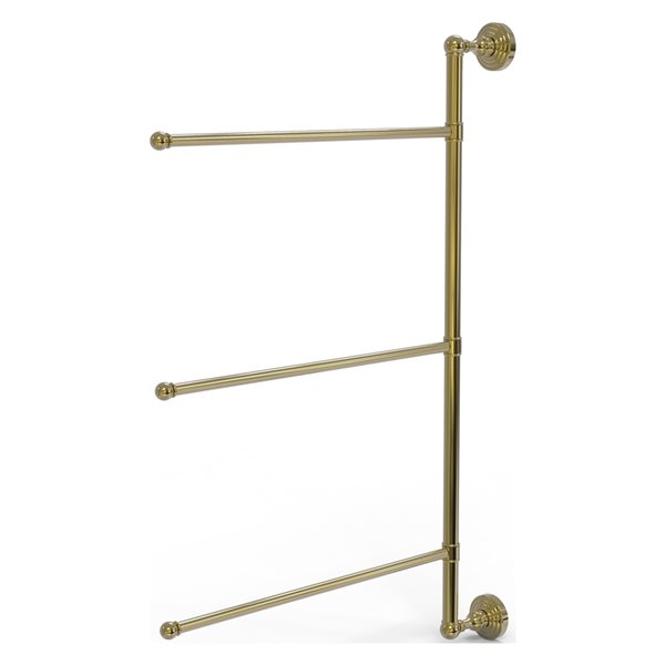 Allied Brass Waverly Place 3-Swing Arm Vertical 28-in Towel Bar - Unlacquered Brass