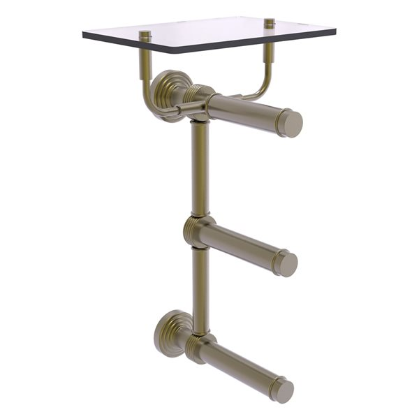 Allied Brass Waverly Place 3-Roll Toilet Paper Holder with Glass Shelf - Antique Brass
