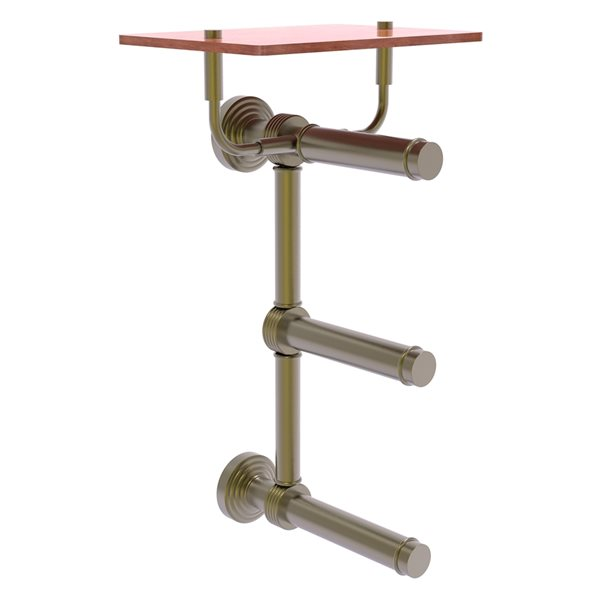 Allied Brass Waverly Place 3-Roll Toilet Paper Holder with Wood Shelf - Antique Brass