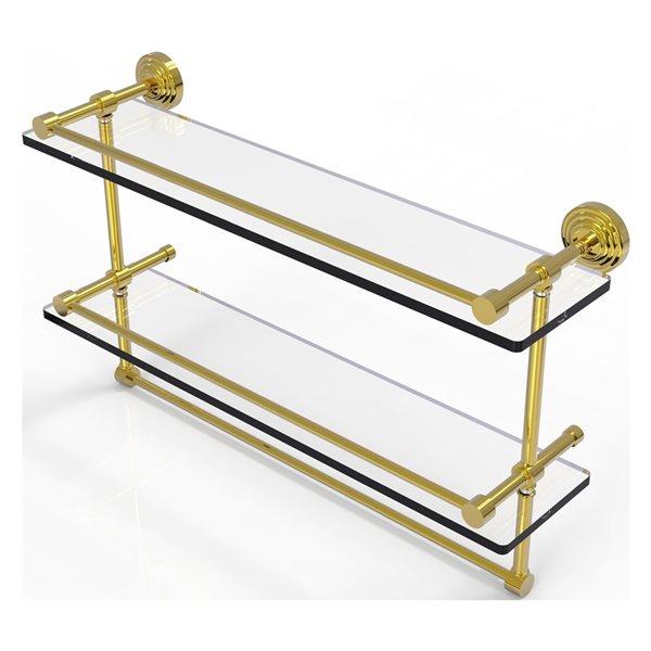 Allied Brass Waverly Place 22-in Double Glass Shelf with Towel Bar - Polished Brass