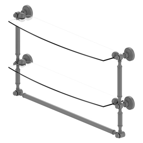 Allied Brass Waverly Place 24-in 2-Tier Glass Shelf with Integrated Towel Bar - Matte Grey