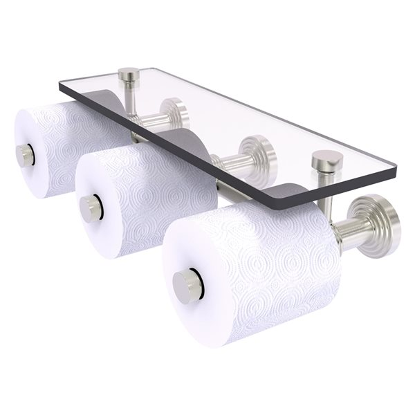 Allied Brass Waverly Place Horizontal Reserve 3-Roll Toilet Paper Holder with Glass Shelf - Satin Nickel