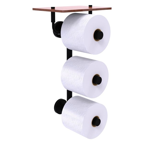 Allied Brass Waverly Place 3-Roll Toilet Paper Holder with Wood Shelf - Matte Black
