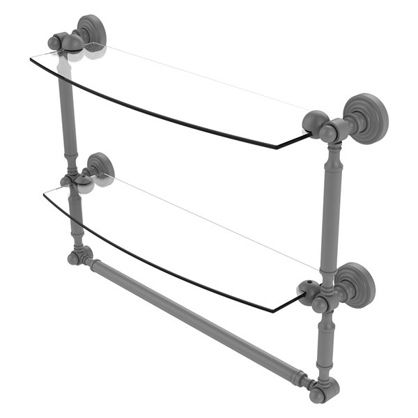 Allied Brass Waverly Place 18-in 2-Tier Glass Shelf with Integrated Towel Bar - Matte Grey