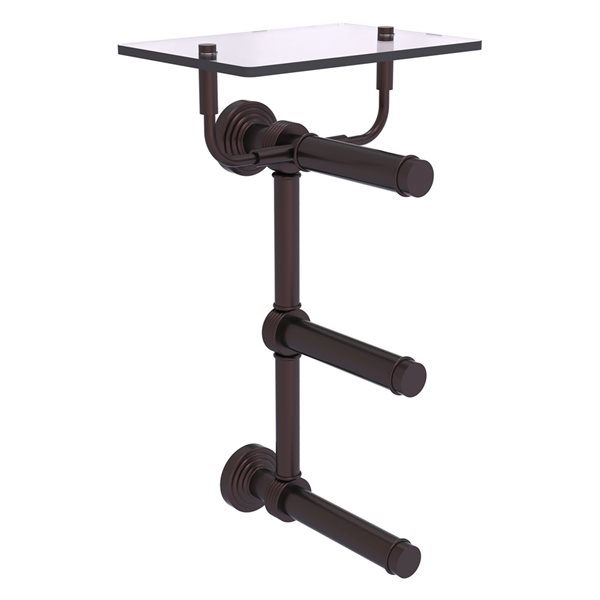 Allied Brass Waverly Place 3-Roll Toilet Paper Holder with Glass Shelf - Antique Bronze