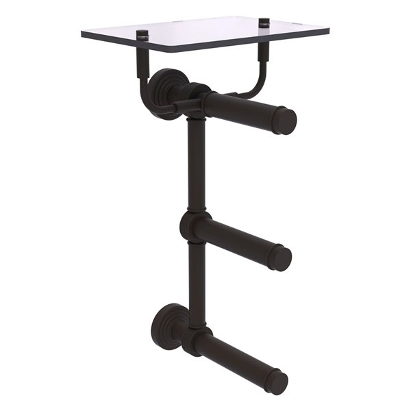 Allied Brass Waverly Place 3-Roll Toilet Paper Holder with Glass Shelf - Oil Rubbed Bronze