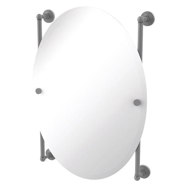 Allied Brass Waverly Place 21-in Matte Grey Oval Frameless Bathroom Mirror