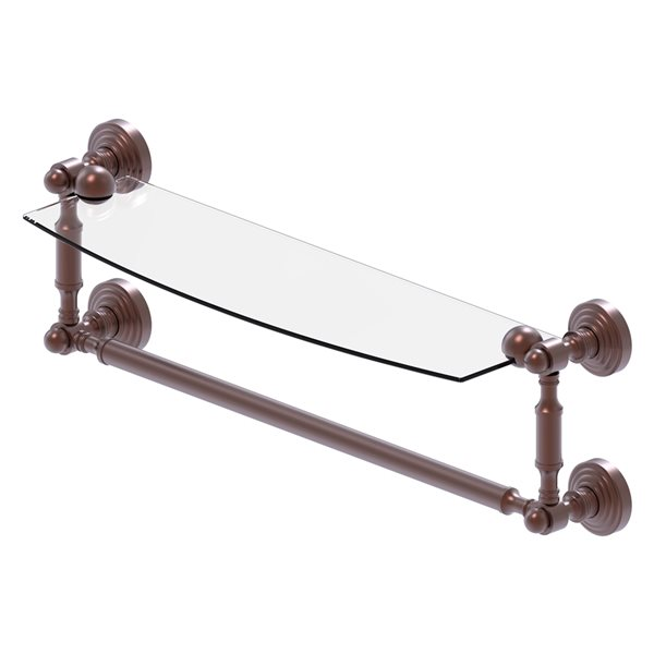 Allied Brass Waverly Place Collection 18-in Glass Vanity Shelf with Integrated Towel Bar - Antique Copper