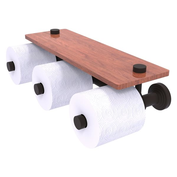 Allied Brass Waverly Place Horizontal Reserve 3-Roll Toilet Paper Holder with Wood Shelf - Oil Rubbed Bronze
