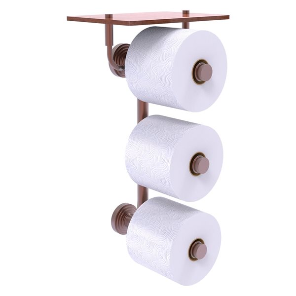 Allied Brass Waverly Place 3-Roll Toilet Paper Holder with Wood Shelf - Antique Copper