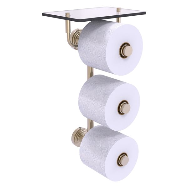 Allied Brass Waverly Place 3-Roll Toilet Paper Holder with Glass Shelf - Antique Pewter