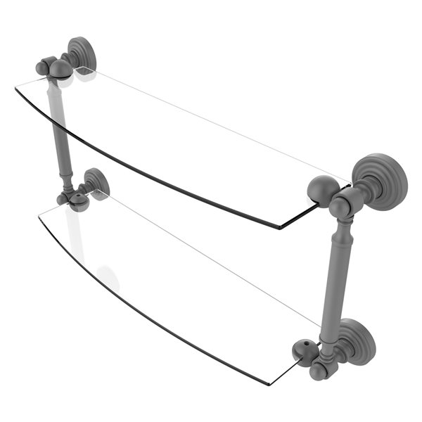 Allied Brass Waverly Place Collection 18-in 2-Tier Glass Shelf - Matte Grey