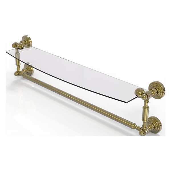 Allied Brass Waverly Place Collection 24-in Glass Vanity Shelf with Integrated Towel Bar - Unlacquered Brass
