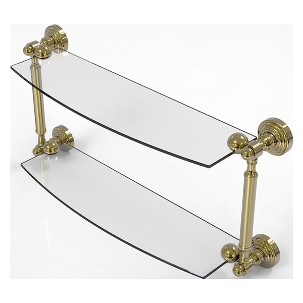Allied Brass Waverly Place Collection 18-in 2-Tier Glass Shelf - Unlacquered Brass