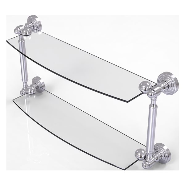 Allied Brass Waverly Place Collection 18-in 2-Tier Glass Shelf - Satin Chrome