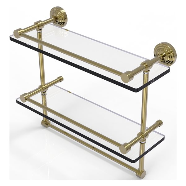 Allied Brass Waverly Place 16-in Double Glass Shelf with Towel Bar - Unlacquered Brass