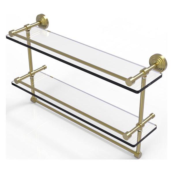 Allied Brass Waverly Place 22-in Double Glass Shelf with Towel Bar - Satin Brass