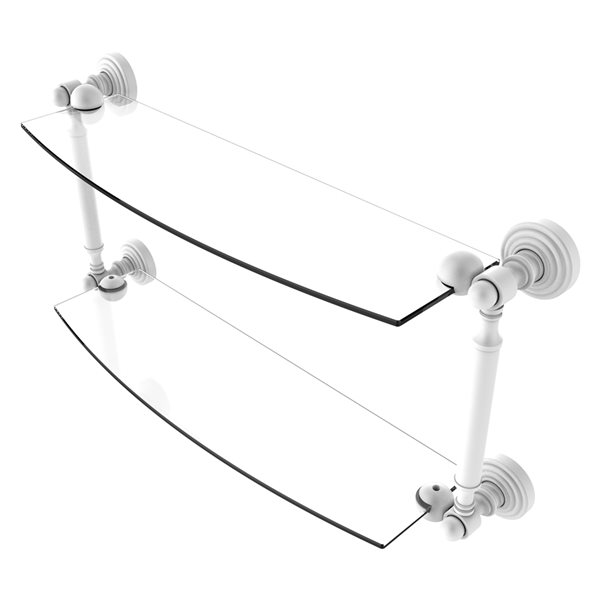 Allied Brass Waverly Place Collection 18-in 2-Tier Glass Shelf - Matte White